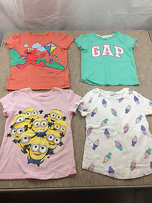 lot of 4 toddler girls shirts size 5T MINIONS ELMO OLD NAVY GAP