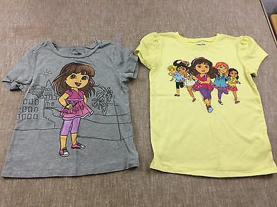 lot of 2 toddler girls DORA & FRIENDS t-shirts size 5T Old Navy yellow gray s/s