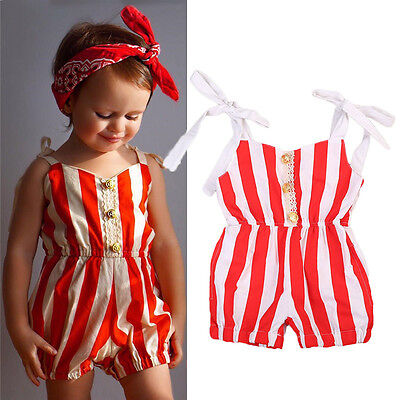 Summer Toddler Baby Girl Striped Romper Bodysuit Jumpsuit Outfit Sunsuit Clothes