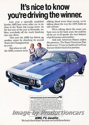 1973 American Motors AMC AMX -  Original Advertisement Print Art Car Ad J767