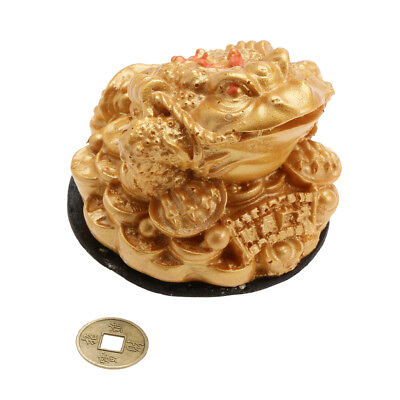 Gold Feng Shui Chinese Lucky Car Decor Charm Money Coin Frog Toad Figurine