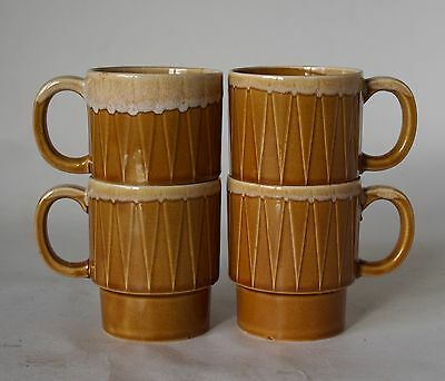 Vintage Retro 60s/70s Set of 4 CERAMIC COFFEE MUGS/CUPS Japan POTTERY/CHINA