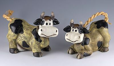 Pair of Spotted Cow Figurines Resin With Rope Tails