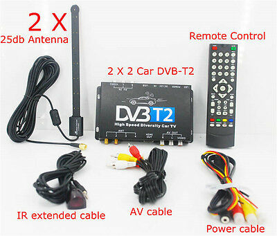 Mobile Digital TV DVB-T Receiver Box Tuner DUAL ANTENNAS for Car,Caravan,Boats