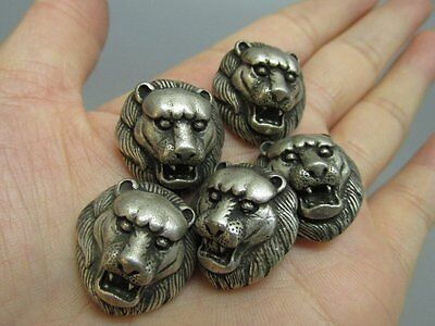5 Chinese Silver Carved Lion Pendant / Button