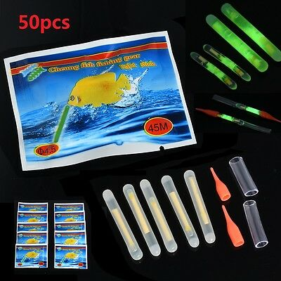 50Pcs Fishing Fluorescent Lightstick Light Night Float Clip On Dark Glow Stick