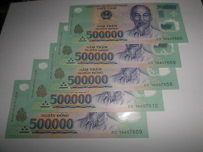 Vietnamese Currency 5x500,000=2.5 million dong Bank Notes brand new issue 2016