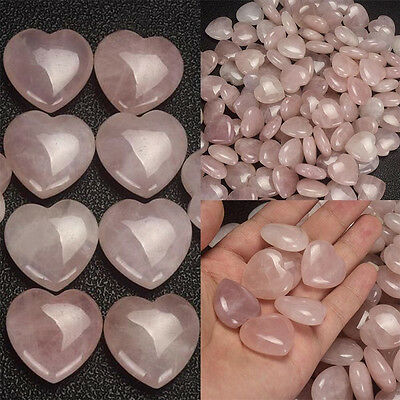 Crystal Carved Natural Love Rose Quartz Heart Shaped Palm Healing Gemstone Pink