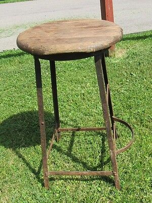 Vintage Metal Industrial Drafting Chair Stool Machine Age Shop w/ Rare Foot Rest