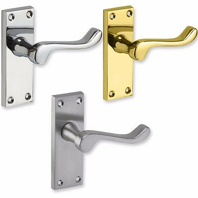 VICTORIAN SCROLL LATCH DOOR HANDLES Pair Internal Brass Chrome Satin Interior