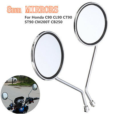 8mm Motorcycle Rearview Round Mirror For Honda C90 CL90 CT90 ST90 CM185 CM200T