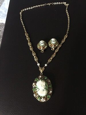 Signed West Germany Vintage Cameo Necklace Clip Earrings Set Green