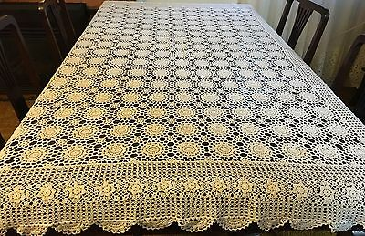 HAND CROCHET White, Rectangular Tablecloth -200x140cm - Beautiful Cond