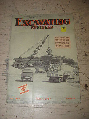 Oct 1944 Excavating Engineeer Construction Magazine Bucyrus Erie Letourneau