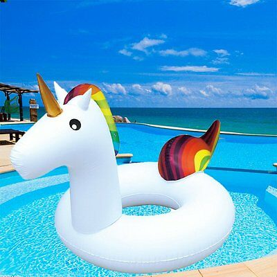Giant Inflatable Unicorn Water Float Raft Summer Swim Pool Lounger Beach Ring