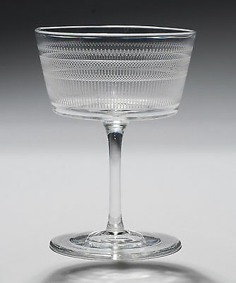 Victorian Antique Acid Etched Champagne Glass with Shallow Bucket Bowl