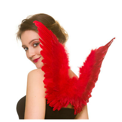 Small Red Feather Wings Ladies Devil Halloween Fancy Dress Accessory