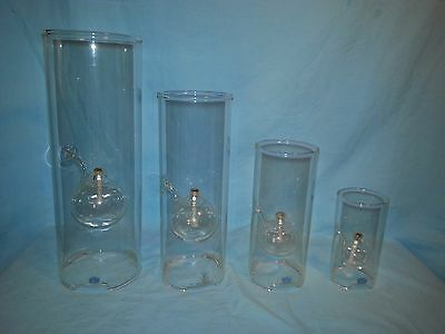 "Set of 4 Wolfard Clear Glass Hand Blown Oil Lamps / Lanterns -15"", 12"", 9"" & 6"""