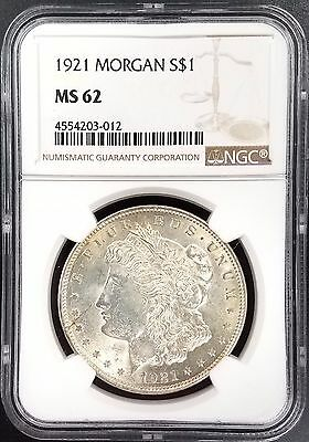 1921 Morgan Silver Dollar graded MS 62 by NGC! NO RESERVE!