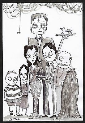 GUS FINK Art outsider limited lowbrow antique graffiti classic THE ADDAMS FAMILY