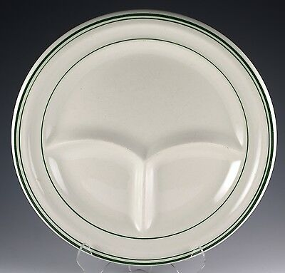 "Vintage Sterling China Restaurant Ware 9 3/8"" Green Striped/Banded Grill Plate"