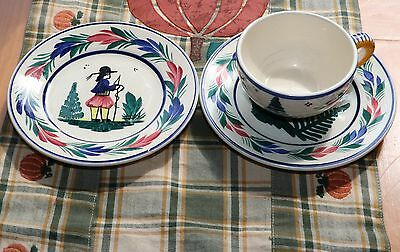 Vintage Quimper French Pottery Cup & Saucer Set