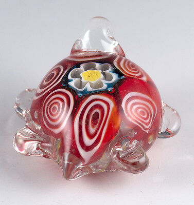 "Hand Blown Art Glass Red Millefiori Turtle Figurine 1.75"" Long"