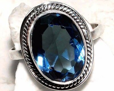 6CT Sapphire 925 Solid Sterling Silver Ring Jewelry Sz 8.75, S14-5