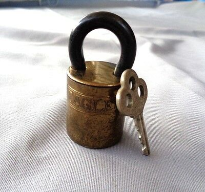 Vintage Round Eagle Pad Lock and Key