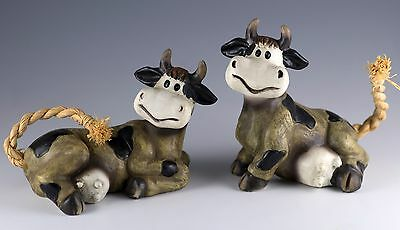Pair of Cow Figurines Resin With Rope Tails