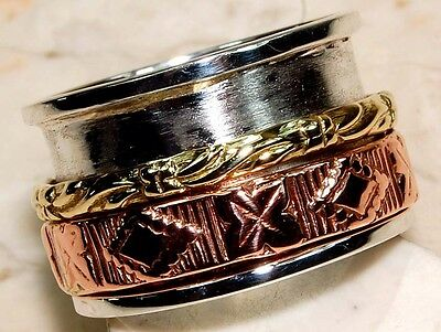 Handmade Hammered 925 Sterling Silver Ring Jewelry Sz 8, S14-5