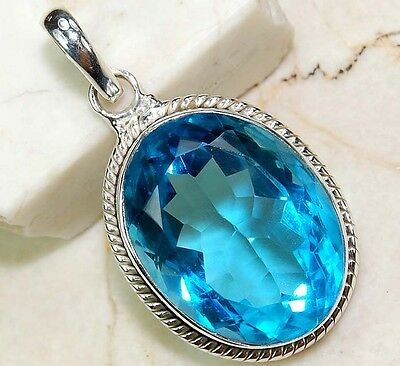 6CT Flawless Blue Topaz 925 Solid Sterling Silver Pendant Jewelry , S14-5