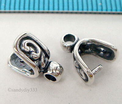 2x OXIDIZED STERLING SILVER FLOWER PINCH IN PENDANT BAIL CLASP SLIDE #1799A