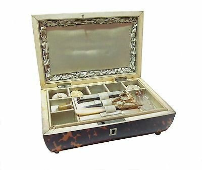 English 19th Century Faux Tortoise Shell Sewing Box with Mother-of-Pearl and 18k