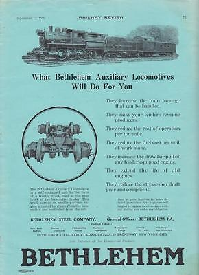 1925 Bethlehem Steel Ad: D&H Delaware & Hudson Railroad Auxiliary Locomotive