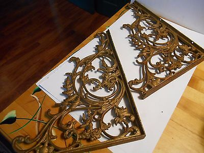 "antique ornate cast iron shelf brackets 16"" by 12"" flowers vines humming bird"