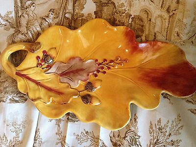 Stunning Fitz & Floyd Harvest Autumn Fall Thanksgiving Serving Leaf Tray Canopy