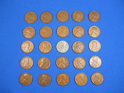 """Lincoln Wheat Cent Penny San Fran """"S"""" Mint Set 1919S-1955S Collection 25 Coins!"""