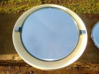 RARE VINTAGE MID CENTURY 60`s 70`s MID LARGE LIGHT UP VINYL PLASTIC ROUND MIRROR