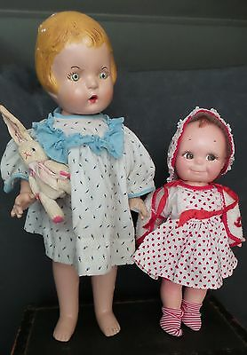 2 CHARMING Antique COMPOSITION Dolls unmarked KEWPIE Baby DOLL need  TLC