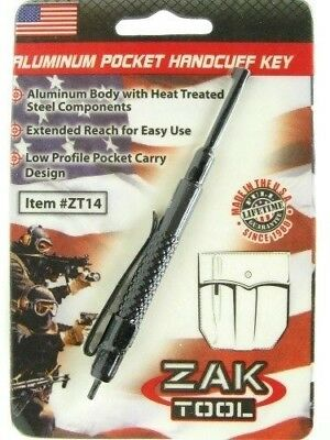 ZAK TOOL  ZT-14 Tactical Black ALUMINUM Handcuff Key w/ Pocket Clip