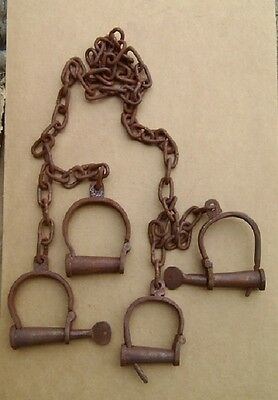 Jail Prisoner Wrist Handcuffs & Leg Iron Shackles Cuffs Keys Transfer Shackles