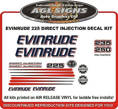 2004 2005 EVINRUDE Direct Injection 225 HP Decal set reproductions  200 235 250