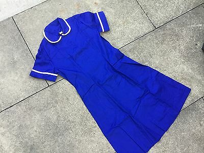 Royal Blue Scallop neck Nurses Dress Workwear, Healthcare, Size 10 Short Sleeves