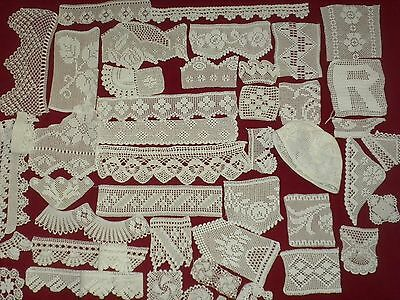 40 pcs  VİNTAGE HANDMADE CROCHET LACE SAMPLES DOİLİES,TRİM,MOTİF***NEW***