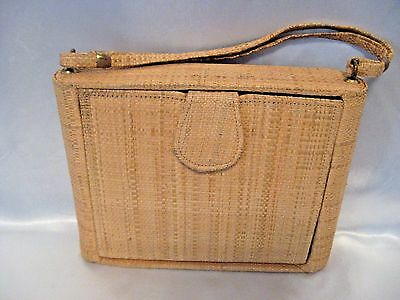 Vintage 1950's Woven Wicker Straw Striped Purse w Strap