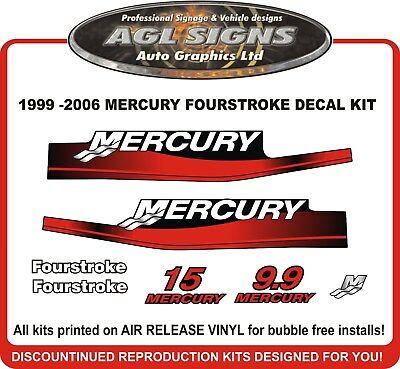 1999 - 2006 MERCURY 15 hp Outboard decal set  reproductions   9.9 hp