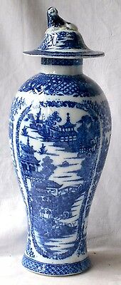 Late C19Th Chinese Blue And White Vase And Cover With Picture Panels Of Temples