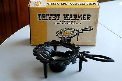 Vintage Wrought Iron Cast Iron Footed Trivet Warmer with Original Box