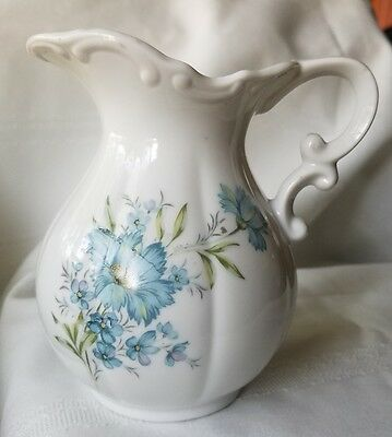 Small Vintage Wash Basin Pitcher White with Blue Flowers 5.5""